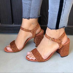 Elianna Glitz Rust Block Chunky Heel Sandal